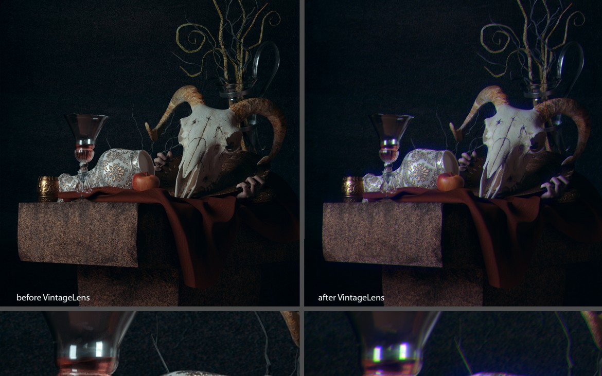 adds such optical artifacts as anamorphic flaring, ghosting and chromatic aberrations