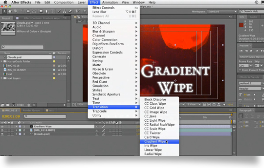 Using Gradient Wipes in after effects