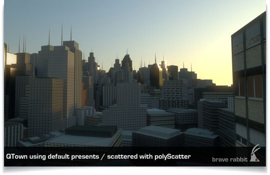 Preview of QTown 2 City Generation for Maya Adds Automatic UV Texturing