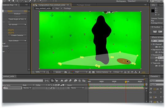Three examples of using the 3d camera tracker in after for Habitacion 3d after effects
