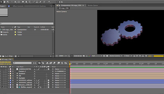 Create and animate 3d gears in after effects lesterbanks for Habitacion 3d after effects