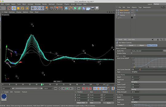 Cinema 4D Audio WaveForm Rig Auto Creates WaveForms from Audio with
