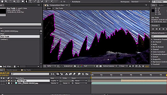 after effects creating time lapse star trails using nighttime