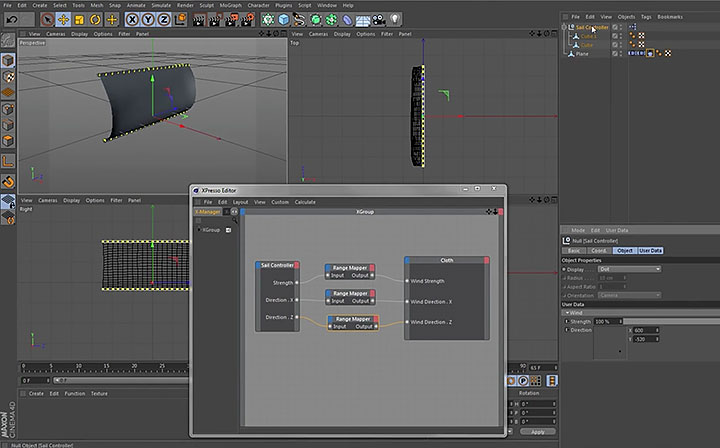 Controlling Cinema 4D Cloth Dynamics and Wind with Xpresso
