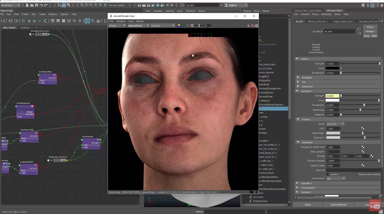 Building a Detailed Skin Shader With Arnold - Lesterbanks