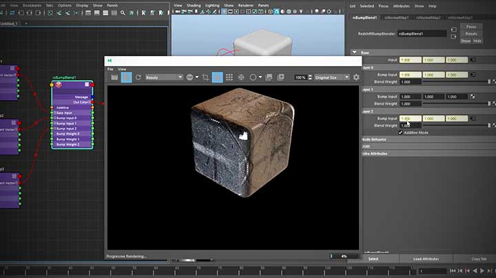 Redshift: How to Combine Multiple Projections as Normal Maps