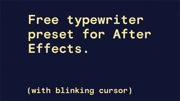 Check Out This Free Typewriter Animation Preset for Ae